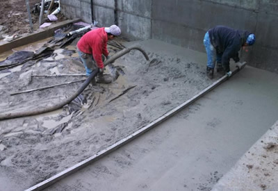 large floor concrete pour seallte glasco concrete